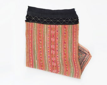 Vintage Hmong Apron Dress Patch Trim - Embroidered Hill Tribe Textile Fabric Piece from the Hmong - Hill Tribe Dress Hmong Clothing