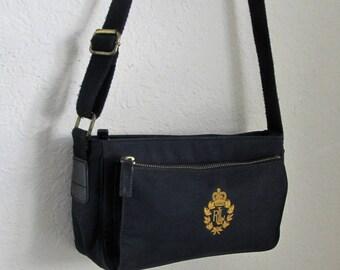 SALE! Vintage Lauren-RalphLauren -Black Micro-Canvas Crossbody/Shoulder Bag -Lauren Gold Embroidery Crest - Outer Pkt.-Adj.  Strap