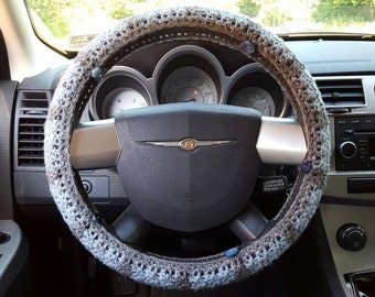 Speckled Blue and Grey Striped Crochet Steering Wheel Cover with Buttons
