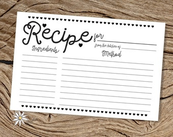 Printable 4 x 6 Black and White Heart Recipe Index Cards, Modern Recipe PDF Cards