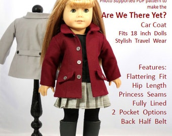 "American Girl Doll Clothes Pattern - ""Are We There Yet?"" - Car Coat fits 18 inch dolls"