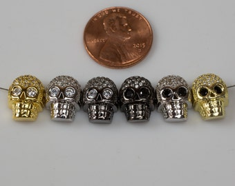 CZ Skulls Charm / Bead. Side Drilled. Perfect for Bracelets!