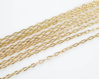 1.2*2.8mm Texturized Chain Gold Fill Beaded Satellite Chain -- By the Foot- 14/20