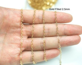 2.5mm Gold-filled Chain by the YARD (3 Feet) -- Flat Chain