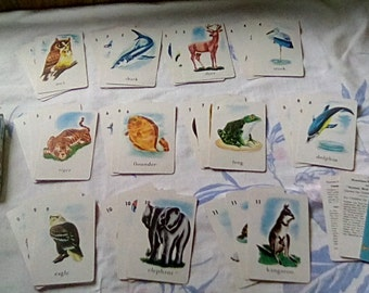 Vintage Animal Bird Fish Card Game