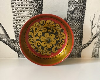 Vintage Wood Floral Dish Ethnic Russian Folk Art Bowl
