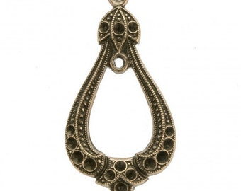 Vintage brass 2 loop teardrop hanger with rhinestone settings . 31x16mm. Pkg of 2 b9-2430(e)