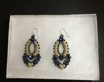 Handmade Beaded Earrings with Pearls and Swarovski Bicones