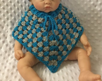 "Littlebits Newborn Baby Boy Crocheted Poncho with Drawstring Neckline  - 32cm {13""}wide X 24cm {9-1/2""} long - Handcrafted in Australia RTS"