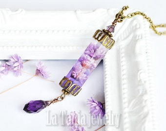 Purple Flower Necklace – Dried Flower Pendant, Resin Flower Necklace, Boho, Witchcraft, Real Flower Necklace, Magical Necklace, Whimsical