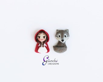 Lobe earrings, Little Red Riding Hood and Wolf, handmade, polymer clay