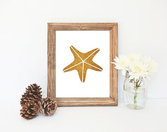 Gold Starfish Printable, Nautical Nursery Print, Gold Wall Art, Bathroom Decor Print, Sea Star Print, Gold Beach Decor, Beach Art, Starfish