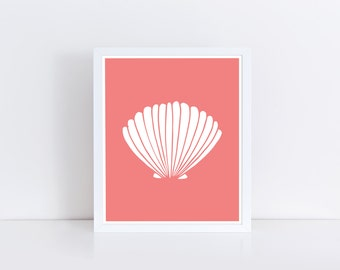 Seashell Art, Shell Print, Coral Sea Shell Print, Beach Decor, Nautical Decor, Scallop Wall Art, Coral Shell, Ocean Print, Printable Art