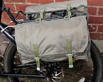 Grey canvas pannier bags 1980s vintage ex-army bicycle panniers with detachable shoulder strap