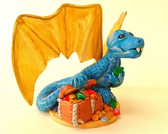 Polymer Clay Dragon Figurine, Blue Dragon with Treasure Chest Ornament, Dragon Cake Topper, Winged Reptile Sculpture, OOAK Fantasy Creature