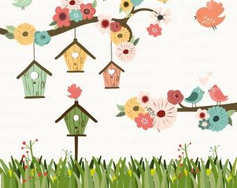 Birdhouses Clip Art. Birds Clip Art. Birds Clipart. Floral Clip Art. Garden Clip Art. 18 images, 300 dpi. Eps, Png files. Instant Download.