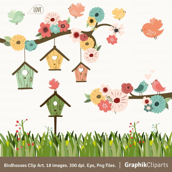 Birdhouses Clip Art. Birds Clip Art. Birds Clipart. Floral