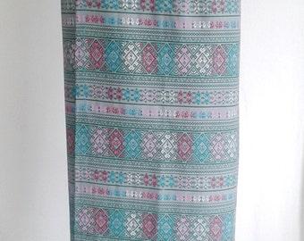 Green Multi-Color Hmong Skirt Boho Hippie Skirt Wrap Around Skirt Free Size