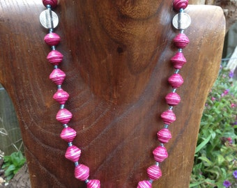 Paper Bead Necklace - Pink
