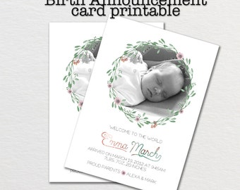 Birth announcement card, baby announcement, printable baby birth card, newborn announcement, new baby photo card, printable newborn card,