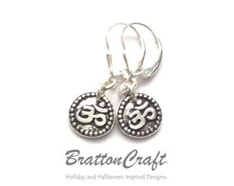 Antiqued Silver Aum Earrings - Silver Om Earrings  - Yoga Earrings - Spiritual Earrings - Mantra Earrings - Meditation Jewelry - Epsteam