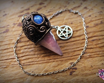 Rose Quartz with Moonstone Pentacle Pendulum