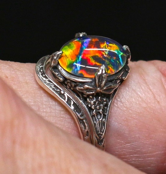 Antique style Opal Engagement Ring Wedding by AmyKJewels on Etsy