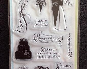 Set of 15 Clear Stamps, Wedding Theme, Anniversary, Scrapbooking, Card Making, Inkadinkado