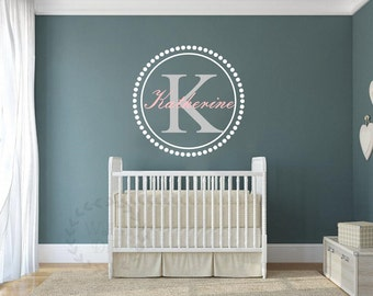 Monogram wall decal Personalized monogram wall decal Monogram and name wall stickers Nursery monogram murals Name wall sticker