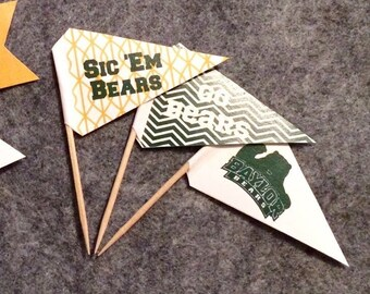 BAYLOR BEARS flag picks: Printables! Pennant snack or cupcake toppers football tailgate decor party supplies