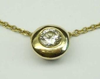 14kt Gold 1.01 Ct Diamond Solitaire Pendant Necklace K SI1