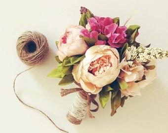Peony Bridal Bouquet / Artificial Flower Bouquet / Peonies Bouquet