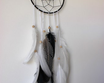 SPOTTED DEER White, black and guinea fowl Feather Dreamcatcher with white rainbow crystal