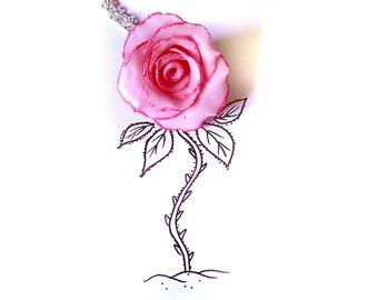 Rose necklace, cold porcelain rose, cold porcelain necklace, pink rose necklace, pink necklace, nature necklace, flower necklace, romantic