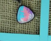 Pop art triangle glass pendant gunmetal necklace
