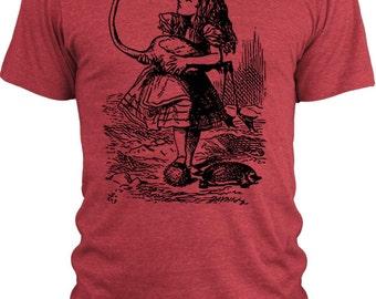 Big Texas Alice in Wonderland - Alice Flamingo Croquet  Vintage Tri-Blend T-Shirt