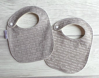 Chemistry Baby Bibs / Drool Bibs / Organic Cotton Fleece / Periodic Table / Gender Neutral / Gray and White / Future Chemist