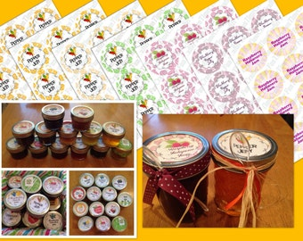 Homemade Pepper Jelly Labels ~Habanero, Jalapeno ~ Mason Jar Fruit Jam tags ~Printable Stickers ~ Canning ~Wedding Favors ~ Instant Download