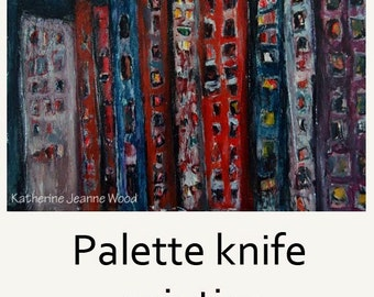 Original Acrylic Cityscape Painting. Dark Mixed Media Collage Art. Palette Knife Painting.