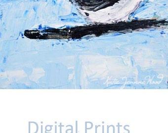 Digital Print. Blue & White Chickadee Bird Painting. Animal Portrait Print. Cottage Chic Wildlife Print. 5