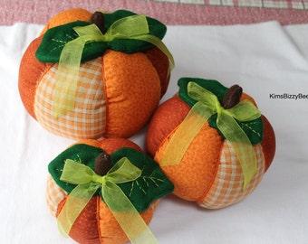 Pumpkins, Orange, Metalic Orange and Beige Plaid Rust, Fall Decor, Thanksgiving Halloween centerpiece, Cloth Pumpkins., Set of three, Autumn