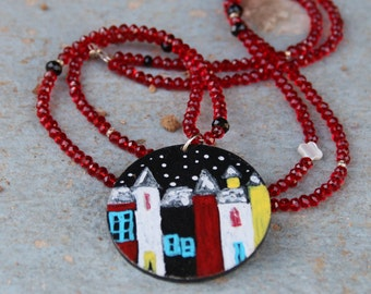 Painted Wooden Jewelry,Necklace Wooden,Necklace Painted,Jewel Painted,Long Necklace,Wooden Jewelry,Women,Beaded Neckalce,Red Jewel,Birthday