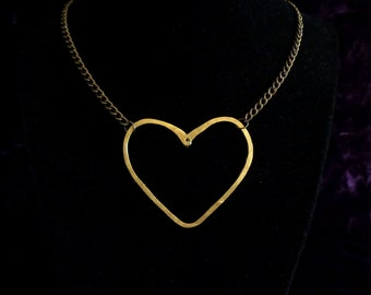 Hammered Brass Heart Necklace