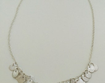 Tiny circles, bib necklace, sterling silver, brushed silver
