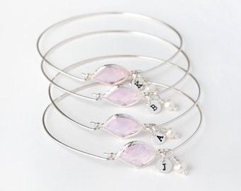 bridesmaid bracelet, best friend bracelet set, pink June birthstone Personalized initial bangle bracelet, bridesmaid gifts wedding gift
