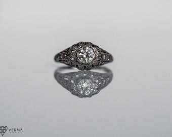 Antique Platinum Engagement Ring .70cttw w/ Old European Cut Diamond from 1930's VEG #10