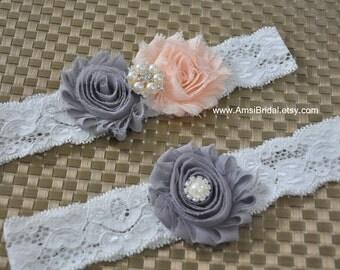 Gray garters,Pale Peach Garter,Grey garter Set,Garters Sets,Toss lace Garter,Peach Wedding,Grey wedding,Custom garter,Peach and Gray Wedding