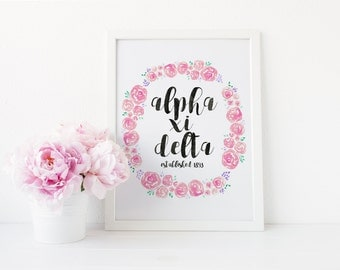 Alpha Xi Delta Sorority Art Print | Great Big Little Gift!