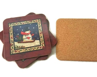 Skiing Snowman Set of 4 Cork Coasters Drink Mats Manocraft Christmas Home Decor