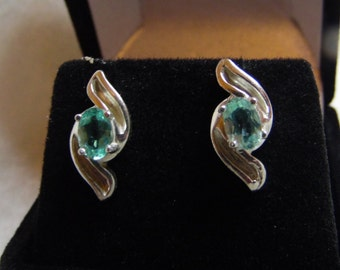 Paraiba Tourmaline earrings.  Two 6 x 4 mm ovals with a combined weight of .90 ct. Set in .925 Sterling Silver post butterfly back studs.